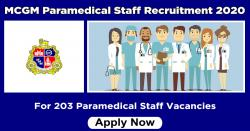 MCGM Paramedical Staff Recruitment 2020 Apply 203 Paramedical Staff Vacancies
